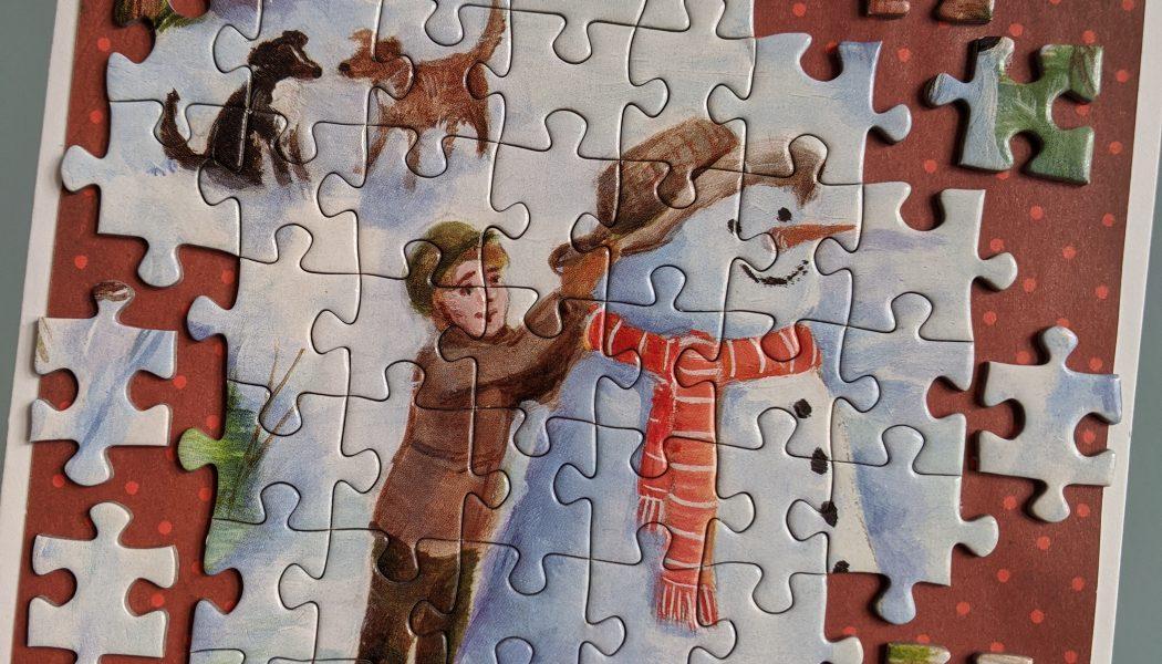 Homemade Christmas cards peace by jigsaw-piece